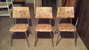 60's Vinyl Covered Metal Frame Kitchen Chairs