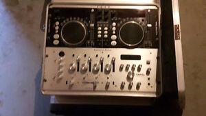 american audio dual cd mixer with amp and mixer dj setup