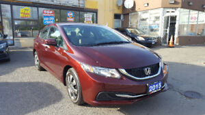 2015 HONDA CIVIC LX SEDAN LOADED WITH ONLY 66kM RED ON BEIGE