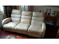Leather 3 seater recliner and 1 chair recliner lazyboys