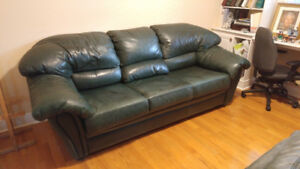 Genuine Rawhide Leather Couch and Loveseat