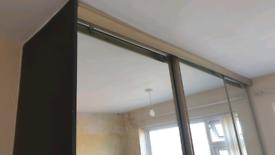 Sliding wardrobe mirror doors and track