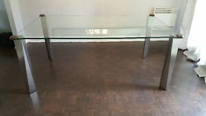MAISON CORBEIL THICK GLASS STAINLESS LEG DINING TABLE