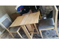 Solid Pine Foldaway Table with x2 matching chairs