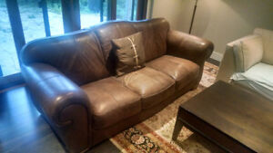 Brown Leather Couch and matching Chair - Made in Italy