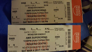 2 tickets to Supercross March 4 at Roger's Centre