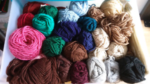 Yarn - various balls - mostly acrylic wool blends