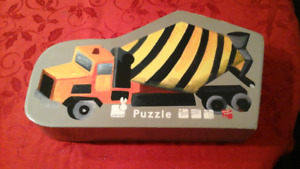 2- floor puzzles.  Cement truck and Fire truck.
