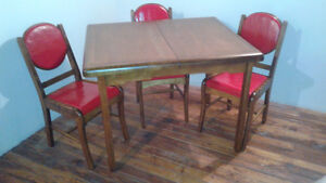 Walnut Table & 3 Chairs-