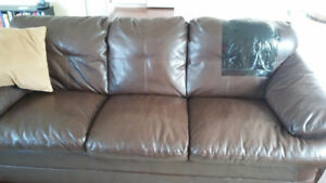 Great rec room couches!  Brown Faux leather couch and loveseat