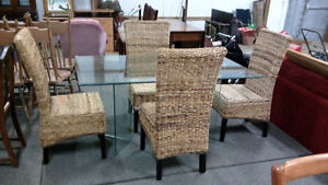 Glass Top Table with 4 wicker Parson chairs