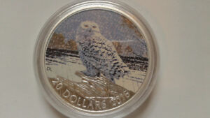2015 $20 Silver Coin - Snowl Owl, comes with blank card