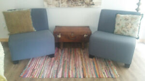 Pair of blue slipper Chairs