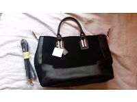 New Look Black Suade and Faux Leather Handbag BNWT