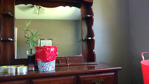 Solid wood dresser and mirror tall boy and bedside table Stratford Kitchener Area image 2