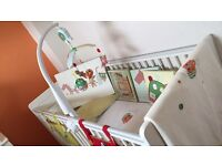 Mamas and papas cot, accessories and chest of drawers with changing unit.