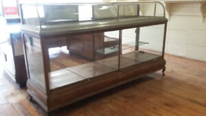 Antique display cases & mirror