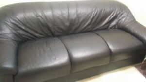 Black leather couch...mint contion