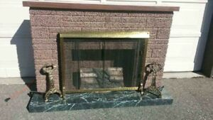 ORIGINAL MID CENTURY FAUX FIREPLACE MANTLE, ANDIRONS, SCREEN..
