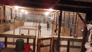 outdoor hockey arena rink glass and puckboard London Ontario image 3