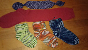 Homemade knitted scarves and slippers