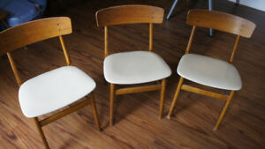 Six vintage FARSTRUP Danish teak dining room chairs for sale.