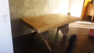 Cedar slab coffee table