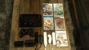 Wii U - Deluxe Set 32 GB - Black + Controllers and Games