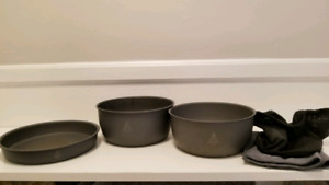 Woods brand camping pots and pan hard anodized aluminum