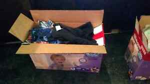 6 months boy clothes  and big box of diapers