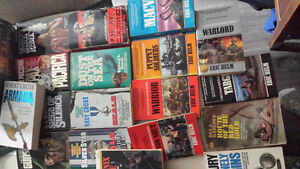 Large Lot of Military Fiction and Action paperbacks