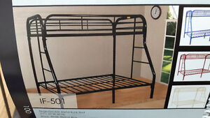 Metal single double bunk bed frame