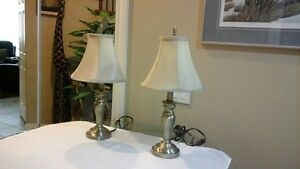 Polished Brass Lamps with Shades