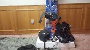 Snowboard, helmet large 59-60cm, Boots size 11 and Smith optics.