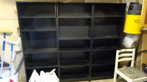 """3 black bookcases, 69"""" high Lr. Sackville"""