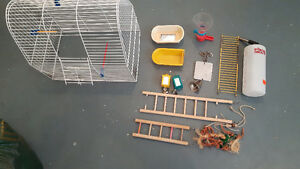 Bird cage and assorted accessories