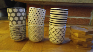 Set of 6 tea cups with coasters