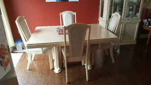 Bleached Oak Dining Room Set with Hutch