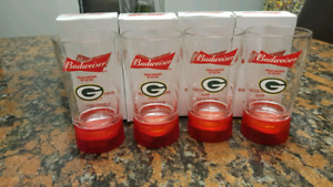 Green bay packers budweiser touchdown glasses set of 4