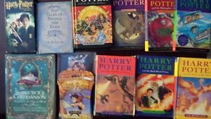 SET OF HARRY POTTER BOOKS, CARD GAME  VHS MOVIE