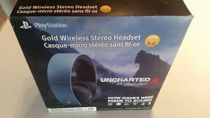 PS4/PS3 Sony Gold Wireless Headset Limited Edition Uncharted