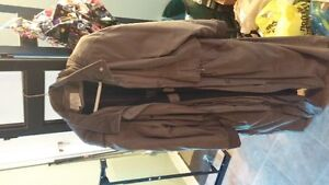 Women's full length taupe trenchcoat with hood/lining - N/S home