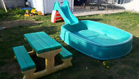 Kids pool comes with slide and picnic table