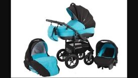 Zipy baby merch blue pram 3 in one. Comes with rain cover and nappy bag l. Folds away for storage