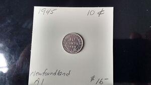 1945 Newfoundland 10 cent pieces