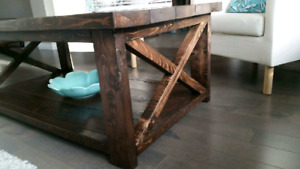 New Rustic Coffee Table with 2 End Tables set.. $500