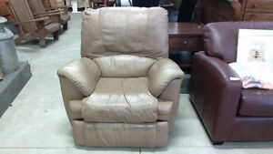 Beige Leather Recliner Chair