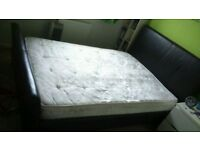 Double leather bed with mattress - very good condition - solid frame // free delivery