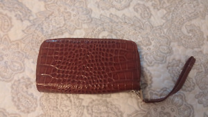 Brown glossy clutch / wallet for sale