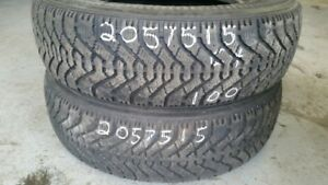 Pair of 2 Goodyear Nordic 205/75R15 WINTER tires (65% tread life